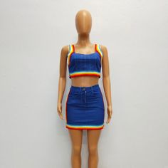 20750dd6fd7 Rainbow Denim Set - M A R C E I L L A Couple Outfits, Overall Shorts,  Sleeve Styles, High Waisted