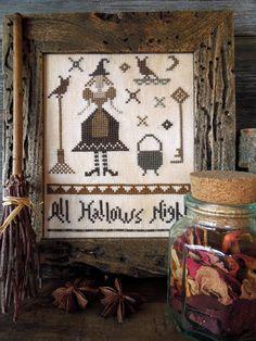 All Hallows Night - PDF Primitive Cross Stitch Pattern. $10.50, via Etsy.