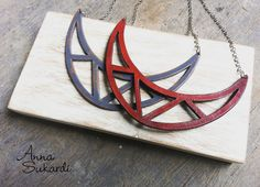 Triangle Cut Outs Necklace in charcoal and marsala.
