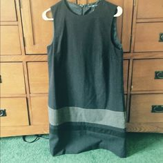 GAP shift dress Navy blue wool dress with a grey and black stripe towards the bottom. Perfect condition! GAP Dresses
