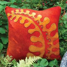 Fall Fern Wool Applique Throw Pillow