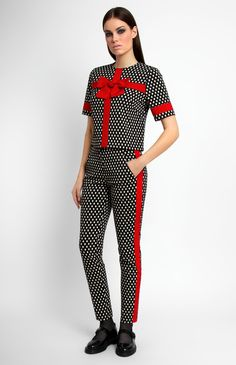Thick stretchy jacquard suit trimmed with red cotton ribbon. Short-sleeve tank top. Hidden back zip closure. Round neck. Narrow-leg front-zipper trousers with side pockets. Unlined. #Pintel
