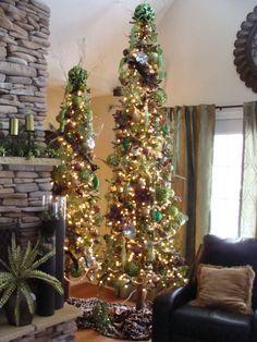 Brown and green Christmas tree decor