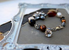 Vintage Rhinestone, Pearl, Gemstone Bracelet with a old rhinestone button accent~