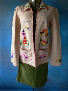 vintage jacket embroidered Mexican tan wool by dizhasneatstuff, $40.00