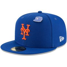 New York Mets New Era Pin 59FIFTY Fitted Hat Royal  NewYorkMets 4757a1b20567