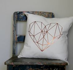 Copper Geo Heart Pillow Cover Love heart cushion by northwestdecor