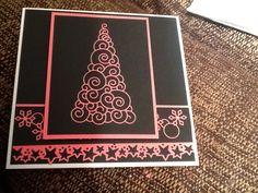 Black and hot pink memory box and magnolia die cut Xmas card