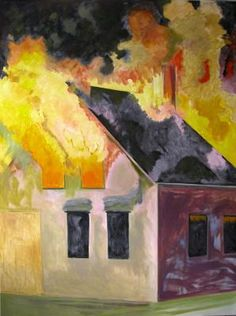 ALEXANDRE GALLERY | Lois Dodd | Burning House, Night, Vertical, 2007