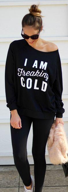 #spring #outfits / Black Printed Off Shoulder Knit / Black Skinny Jeans