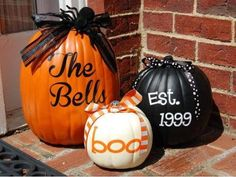 DIY pumpkin decor for outside your home: Paint pumpkins if desired, add Uppercase Living vinyl lettering (can be custom created to use your last name, established date, etc) and tie stem with decorative ribbon.