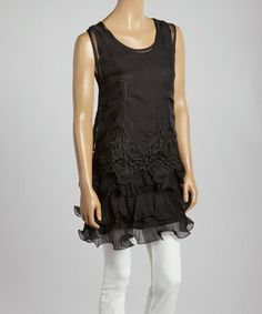 Another great find on #zulily! Black Floral Lace Silk-Blend Tiered Tunic by Pretty Angel #zulilyfinds