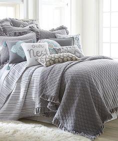 Loving this Levtex Home | Gray Windowpane Quilt Set on #zulily! #zulilyfinds