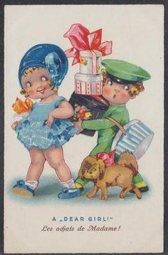 """A Dear Girl!"" ~ vintage postcard by Agnes Richardson."