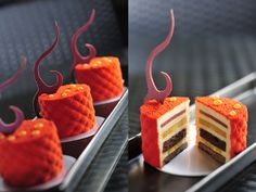 Chocolate biscuit base with layers of yellow fruit compote, cocoa gelee and creamy caramel; Thomas Trillion - patisserie with passion Elegant Desserts, Beautiful Desserts, Fancy Desserts, Just Desserts, Delicious Desserts, Mini Cakes, Cupcake Cakes, Cupcakes, Patisserie Fine