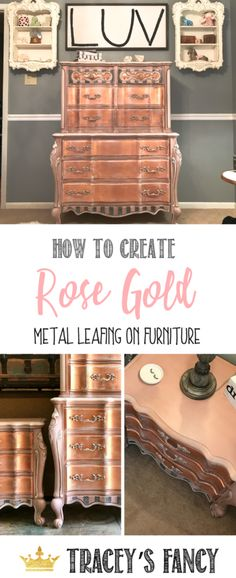 How to Paint Metallic Furniture - a paid tutorial by Tracey's Fancy #rosegold painted furniture ideas girls bedroom furniture metal leafing gold leafing silver leafing | glam bedroom decor | Rose Gold Foil #glam #furniture #furnituremakeover