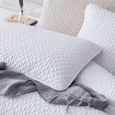 A pebble quilted design with plain reverse for a luxurious option in your bedroom. Available in soft colour palettes to mix and match other soft colours or to bring in pops of bright colour like we've done with our pink Verona side table.