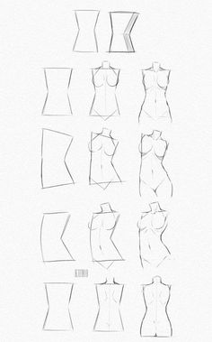 Human Figure Drawing Reference Drawing a feminine body starting with a rectangular / diamond shape Body Sketches, Drawing Sketches, Manga Drawing, Art Drawings, Sketching, Drawing Art, Human Figure Drawing, Figure Drawing Reference, Human Body Drawing