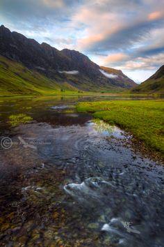 Loch Achtriochtan . Glen Coe. River Coe and Aonach Eagach. North West Scotland.