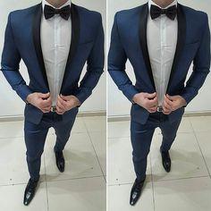 2019 Dark Bule Groom Tuxedos Shawl Lapel One Button Men Suits For Wedding Prom Best Man Blazer ( Jacket+Pants+Bow) Grad Suits, Graduation Suits, Boys Prom Suits, Mens Fashion Suits, Mens Suits, Hugo Boss, Urban Fashion, Trendy Fashion, Costume Slim