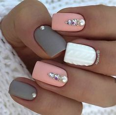 Accurate nails Festive nails Grey and pink nails Ideas of gentle nails Manicure 2018 Matte nails Nails trends 2018 Nails with rhinestones The post Accurate nails Festive nails Grey and pink nails Ideas of gentle nails Manic appeared first on Nageldesign. Square Acrylic Nails, Cute Acrylic Nails, Square Nails, Gel Nails, Nail Polish, Nail Nail, Acrylic Spring Nails, Cute Spring Nails, Top Nail