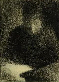 Georges Seurat - Seurat / Woman reading / Chalk Drawing
