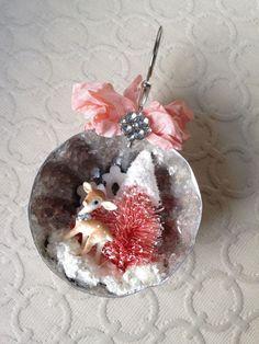 Handmade Christmas shabby sweet deer, pink tree diorama ornament in Jello tin