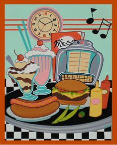 Canvas Print Mid Century Modern Eames Retro from Original Painting Diner Food - retro paintings 1950s Diner, Vintage Diner, Retro Cafe, Retro Diner, 50s Diner Kitchen, Vintage Signs, Vintage Posters, Diner Recipes, Diner Food