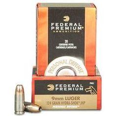 Ammo 9mm Federal Personal Defense Hyrda-Shok JHP 124 Grain 20 Round Box 1120 fps Self Defense Ammunition P9HS1