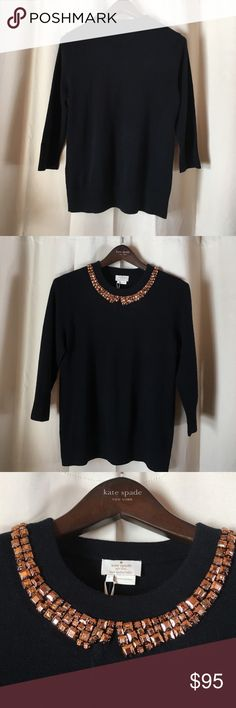 Kate Spade avaline sweater Kate Spade full retail avaline sweater in black. Beaded collar with 3/4 sleeves. 92% wool and 8% cashmere. Missing one bead on the collar but comes with 4 extra beads. Tags attached. kate spade Sweaters