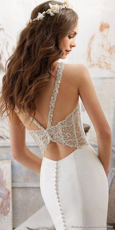 morilee spring 2017 bridal sleeveless v neck clean simple elegant fit and flare wedding dress embellished strap back chapel train (5506) zbv