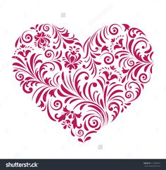 Vector Illustration Of Floral Red Valentine Heart Isolated On White Background. - 117285874 : Shutterstock