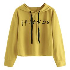 Drawstring Loose Letter Cropped Hoodie ($15) ❤ liked on Polyvore featuring tops, hoodies, hooded pullover, hoodie crop top, loose fitting crop top, sweatshirt hoodies and loose fit crop top