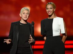 Beyonce Knowles Photos Photos - TV personality Ellen DeGeneres (L) and singer Beyonce speak onstage at the 55th Annual GRAMMY Awards at Staples Center on February 10, 2013 in Los Angeles, California. - The 55th Annual GRAMMY Awards - Show