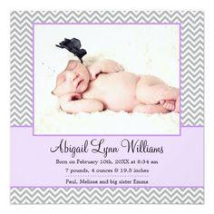 Purple Gray Chevron Girl Photo Birth Announcement