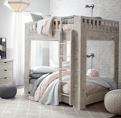 Rustic Kids Bedroom with Small Gray Knit Cotton Pouf, Carpet, Callum platform full-over-full bunk bed, Pendant light Modern Bunk Beds, Full Bunk Beds, Kids Bunk Beds, Bunkbeds For Teens, Queen Size Bunk Beds, Bunk Beds For Girls Room, Double Bunk Beds, Bunk Beds With Stairs, Loft Beds
