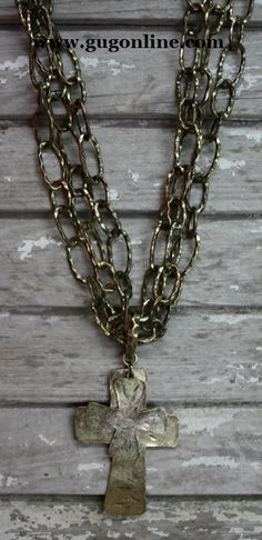 Hammered Double Cross Gold Necklace