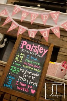 Adorable Birthday Party Fact Chalkboard