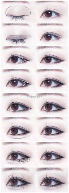 Trendy Makeup Korean Tutorial Eyeliner Make Up 63 Ideas Asian Makeup Tutorials, Korean Makeup Tips, Korean Makeup Look, Asian Eye Makeup, Cat Eye Makeup, Dark Skin Makeup, Makeup Eyeshadow, Prom Makeup, Sparkly Eyeshadow