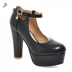 aff54760ecef0e Summerwhisper Women s Elegant Extreme High Round Toe Platform Pumps Ankle  Strap Chunky Heel Shoes Black 6.5