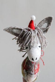 Dominick  Felt Christmas Donkey. Art Toy. by TwoSadDonkeys on Etsy
