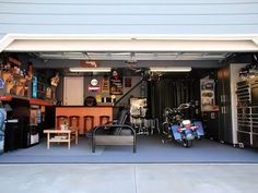 Man cave  with bike--wouldn't want to   leave it out in the cold.