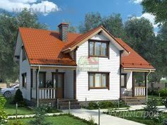 Дом из бруса с двумя террасами по проекту Вятка от архитектурного бюро ЛесДомстрой