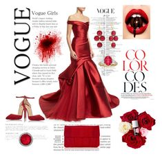 """""""The red contest"""" by fashion-for-treat ❤ liked on Polyvore featuring Monique Lhuillier, Christian Louboutin, Inge Christopher and Liz Claiborne"""