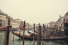 venice italy photography travel photograph europe decor snow boat photography Gondolas on the Grand Canal V19 by eireanneilis