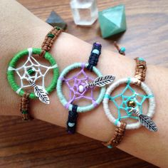 Handmade mini dream catcher bracelets  by knottybychoice! shop on Etsy!!  Www.etsy.com/shop/knottybychoice