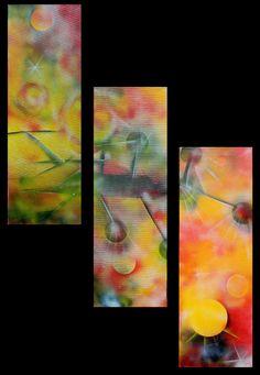 Gemälde, erstellt mit Acryl-Spray, Spraytechnik, Einzelst, Original, Tritychon
