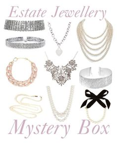 """FAQ about estate jewelry mystery boxes from Hillary's of Houston"" by hillary-marek on Polyvore featuring DaVonna, Bling Jewelry, DIANA BROUSSARD, Tiffany & Co., Anne Klein, Lulu Frost, modern, vintage, HILLARYSofHOUSTON and hillarymarek"
