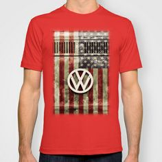 VW Retro US Flag T-shirt by Alice Gosling - $22.00 Available in a wide variety of colors for men, women and children #tanks #tees #tshirt #clothing #VW #Volkswagen #Campervan #VWBus #Flag #USFlag #StarsandStripes