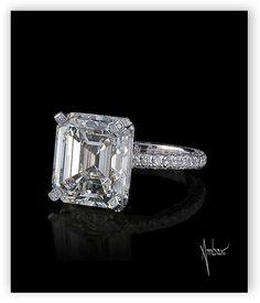 Bez Ambar asscher center diamond set in a pave mounting.  #engagementrings #weddings #diamonds